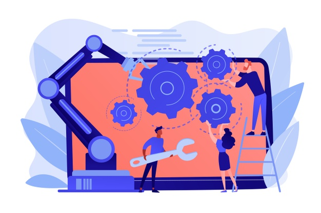humans-cobot-robotic-arm-collaborate-laptop-fixing-gears-collaborative-robotics-cobot-automatization-safe-industry-solutions-concept_335657-1899