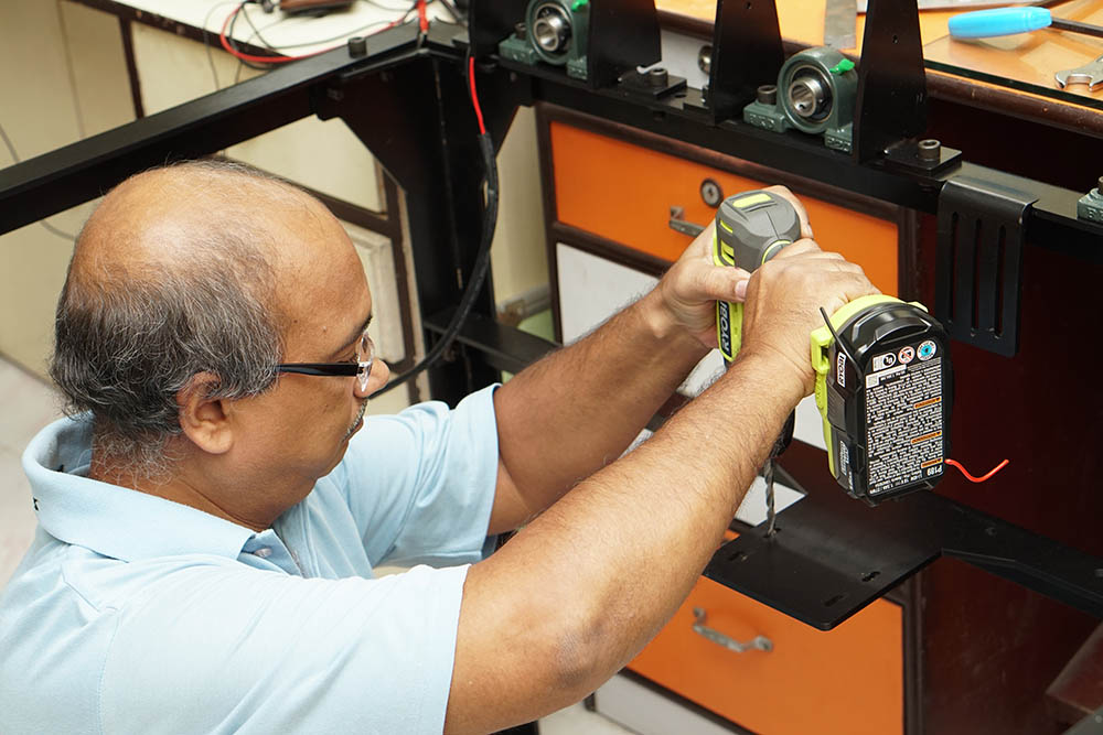Drilling Process In A Industrial Machine At Compu Drive System Lab
